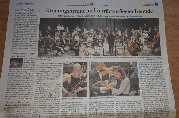 Zeitungsartikel über das Konzert