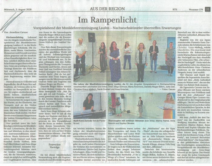 Pressebericht des Freilassinger Anzeigers vom 05.08.2020