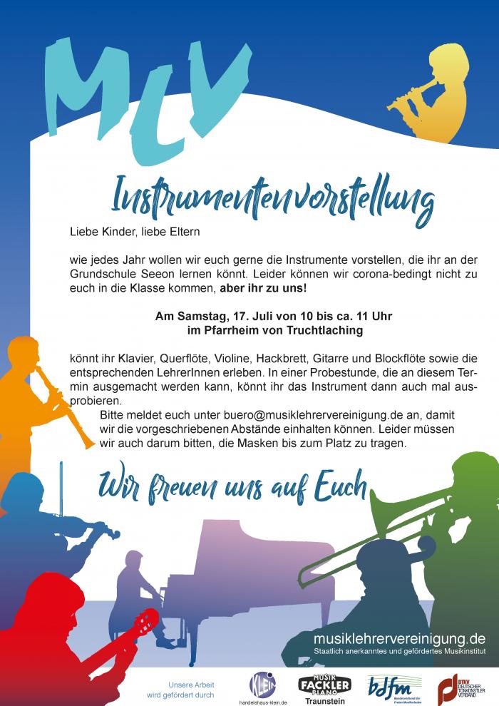 Plakat Instrumentenvorstellung Truchtlaching Juli 21 2 1